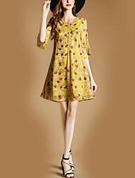 Feminino Solto Bainha Vestido,Festa Feriado Para Noite Casual Bandagem Vintage Moda de Rua Floral Decote Redondo Acima do Joelho Meia