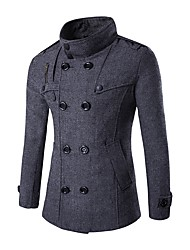 Men's Casual/Daily Simple Fall Winter Trench Coat,Solid Stand Long Sleeve Regular Cotton