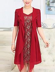 Ample Balançoire Robe Femme Décontracté / Quotidien Grandes Tailles simple,Couleur Pleine Col Rond Claudine Mi-long Demi Manches Coton