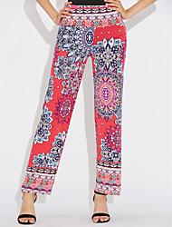 Mujer Boho Tiro Alto Microelástico Chinos Pantalones,Corte Ancho Arco iris