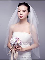 Hochzeitsschleier Vier-Schichten Gesichts Schleier Fingerspitzenlange Schleier Schnittkante Spitzen-Saum Tüll