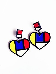 Women's Stud Earrings Acrylic Hip-Hop Personalized China Heart Jewelry For Halloween Club