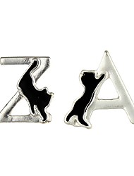 Women's Stud Earrings Jewelry Animal Design Mismatch Alloy Geometric Cat Jewelry For Casual Date