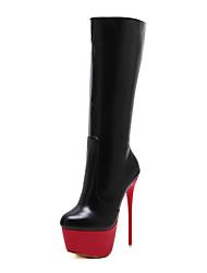 Feminino Sapatos Couro Primavera Outono Inverno Conforto Inovador Plataforma Básica Botas Salto Agulha Botas Cano Médio Ziper Para