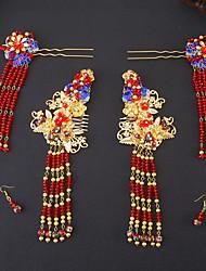 Imitation Pearl Rhinestone Alloy Headpiece-Wedding Hair Combs Flowers Hair Pin Hair Stick 3 Piece