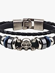 Муж. Кожаные браслеты Панк Ручная работа Кожа В форме черепа Бижутерия Назначение Для улицы На выход
