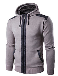 Men's Work Regular Pullover,Solid Hooded Long Sleeves Others Spring Fall Medium Micro-elastic