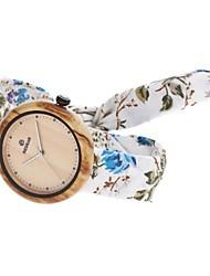 Mujer Reloj de Moda Reloj Madera Japonés Cuarzo de madera Tejido Banda Encanto Elegantes Casual Blanco Azul