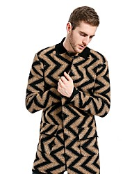 Men's Casual/Daily Simple Fall Winter Trench Coat,Color Block Stand Long Sleeve Long Cotton