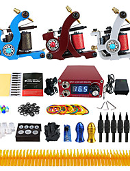 Complete Tattoo Kit 3 cast iron machine liner & shader 3 Tattoo Machines Inks Shipped Separately