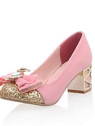 Damen Schuhe Vlies Herbst Komfort Neuheit High Heels Blockabsatz Runde Zehe Schleife Für Hochzeit Kleid Schwarz Dunkelblau Rosa