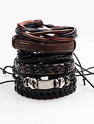 Муж. Wrap Браслеты Кожаные браслеты Rock Ручная работа Кожа В форме линии Бижутерия Назначение Для сцены Для клуба