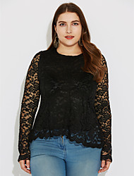 Women's Lace Round Neck Lace/Ruffle Shirt,Lace/Polyester Long Sleeve