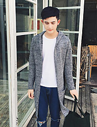 Men's Casual/Daily Regular Cardigan,Color Block Hooded Long Sleeves Others Spring Winter Medium Micro-elastic