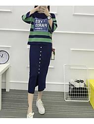 Damen Gestreift Einfach Lässig/Alltäglich T-Shirt-Ärmel Rock Anzüge,Rundhalsausschnitt Herbst ¾ Ärmel Mikro-elastisch