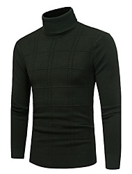 Men's Casual/Daily Simple Regular Pullover,Solid Turtleneck Long Sleeves Polyester Fall Winter Medium Stretchy