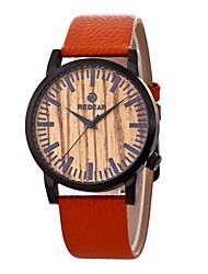 Homens Mulheres Relógio de Moda Relógio Madeira Japanês Quartzo de madeira Couro Legitimo Banda Pendente Casual Laranja