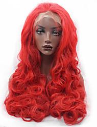 Mujer Pelucas sintéticas Encaje Frontal Largo Ondulado Ondulado Natural Rojo Pelo de seda base Entradas Naturales Peluca de fiesta Peluca