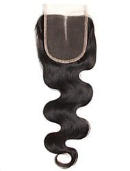 1 шт. 4x4 перуанский корпус волна кружева ткать закрытие волосы необработанные remy волосы отбеленные узлы верхние затворы средняя часть