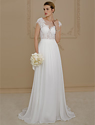 A-Line Princess Scoop Neck Sweep / Brush Train Chiffon Lace Wedding Dress with Appliques by LAN TING BRIDE®
