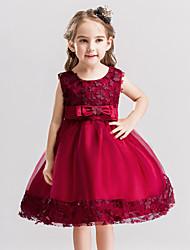Princesse genou longueur robe fille fleur - satin breloque sans manches baihe