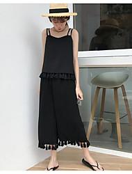 Mujer Simple Casual/Diario Verano T-Shirt Pantalón Trajes,Con Tirantes Un Color Sin Mangas