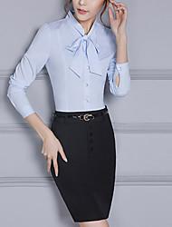 Mujer Simple Chic de Calle Casual/Diario Tallas Grandes Primavera Otoño Camisas Falda Trajes,Escote Chino Un Color Manga Larga Inelástica