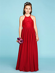 A-Line Princess Jewel Neck Floor Length Chiffon Lace Junior Bridesmaid Dress with Sash / Ribbon Pleats by LAN TING BRIDE®