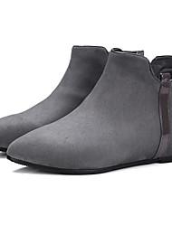 Damen Schuhe Wildleder Frühling Sommer Komfort Stiefeletten Stiefel Blockabsatz Runde Zehe Schleife Für Kleid Schwarz Grau