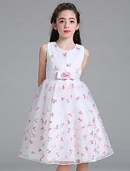 Платье девушки с длинным рукавом с длинным рукавом с длинным рукавом и вышивкой из бисера