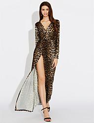 2016 nuevo europeo y americano sexy leopardo maxi v-cuello de manga larga vestido falda longitud de la división