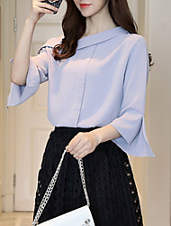 Women's Going out Casual/Daily Sexy Fall Winter Blouse,Solid One Shoulder Long Sleeves Polyester Medium