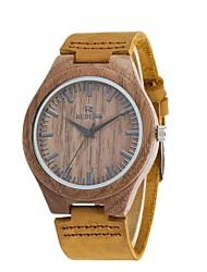 Homens Relógio de Moda Relógio Madeira Japanês Quartzo de madeira Couro Legitimo Banda Vintage Pendente Casual Elegantes Marrom