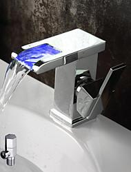 Moderne Montage Jet pluie Couleurs changeantes with  Soupape céramique Mitigeur un trou for  Chrome , Robinet lavabo