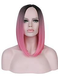 Mulher Sem Touca Curto Liso Preto/Rosa Verde preto / escuro Cabelo Ombre Riscas Naturais Corte Bob Peruca para Cosplay Peruca Natural