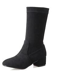 Mujer Zapatos Cuero Piel de Oveja Otoño Invierno Botas de Moda Botas Tacón Robusto Dedo redondo Mitad de Gemelo Combinación Para Casual