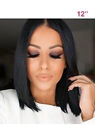 Mujer Pelucas de Cabello Natural Brasileño Cabello humano Encaje Frontal 130% Densidad Corte Bob Liso Peluca Negro Corto Medio Raya en