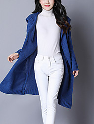 Women's Going out Casual/Daily Simple Street chic Long Cardigan,Solid Hooded Long Sleeves Cotton Acrylic Fall Winter Thick Micro-elastic