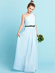 Sheath / Column One Shoulder Floor Length Chiffon Junior Bridesmaid Dress with Bow(s) Sash / Ribbon Side Draping by LAN TING BRIDE®