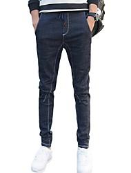 Men's Mid Rise Micro-elastic Skinny Jeans PantsSimple Slim Solid WL-8172