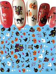 1pcs Joyous Halloween Nail Art 3D Sticker DIY Decoration Funny Pumpkin Ghost Spider Bat Cute Cat Design Nail Art Decals F258