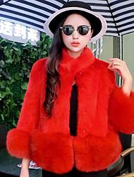 Feminino Casaco de Pêlo Casual Activo Outono Inverno,Sólido Padrão Pêlo de Coelho Rex Colarinho Chinês Manga Longa