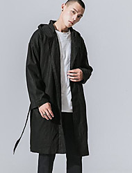 Men's Casual/Daily Simple Fall Winter Trench Coat,Solid Hooded Long Sleeve Long Others