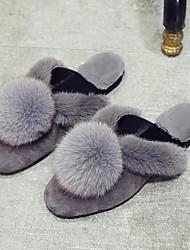 Women's Shoes Fur Velvet Fall Winter Fur Lining Comfort Slippers & Flip-Flops Flat Heel Pointed Toe Closed Toe Pom-pom For Casual Dress