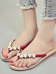Women's Shoes Canvas Summer Slingback Slippers & Flip-Flops Flat Heel Applique For Casual Green Red Black