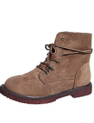 Women's Shoes PU Fall Winter Fashion Boots Boots Flat Heel Round Toe Lace-up For Casual Khaki Black