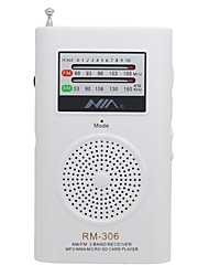 RM306 Radio portatil Reproductor MP3 Tarjeta SDWorld ReceiverBlanco