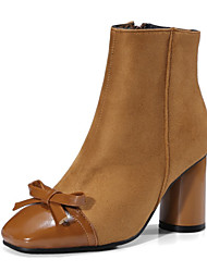 Feminino Sapatos Courino Inverno Conforto Inovador Botas Salto Grosso Ponta quadrada Botas Curtas / Ankle Com Laço Para Casamento Social