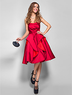 A-line Strapless Knee-length Satin Cocktail/Prom Dress