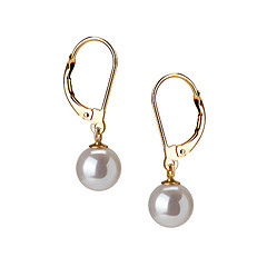 14k Gold White 7.5 - 8mm AAAA Freshwater Pearl Earring